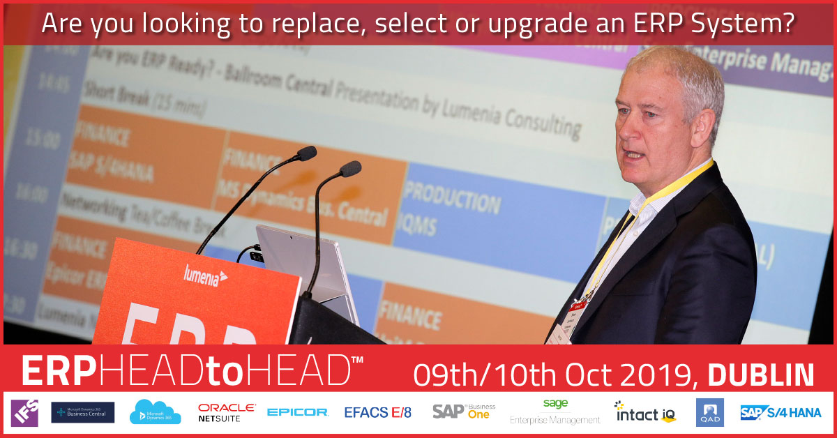 ​​ERP HEADtoHEAD event 9th & 10th October 2019, Dublin.