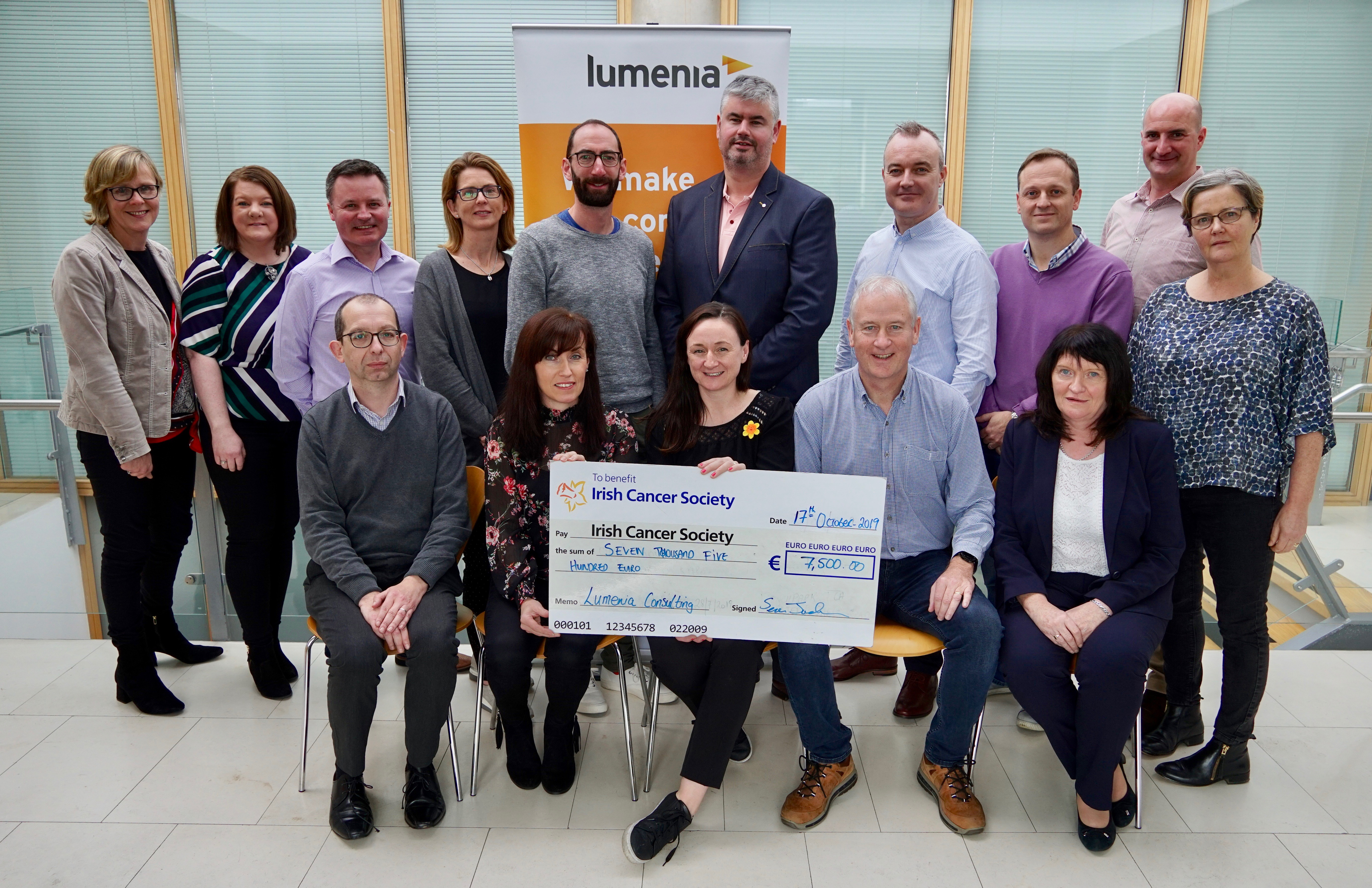 Irish Cancer Society chosen for Lumenia Consulting 2019 Charity of the Year